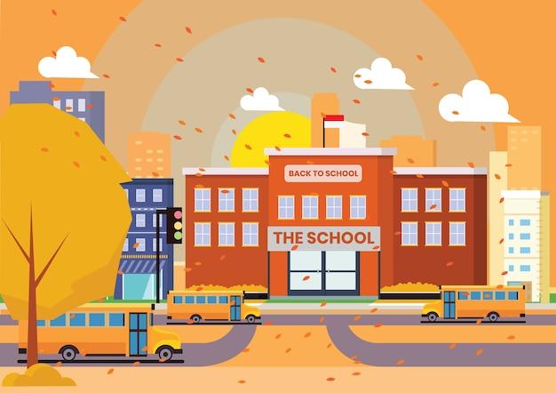 オレンジ色の秋のシーンで学校に戻って Premiumベクター