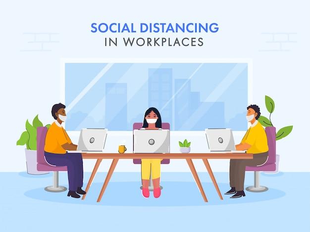 Вернуться к работе после пандемии концепции с сообщением социальной дистанции. Premium векторы