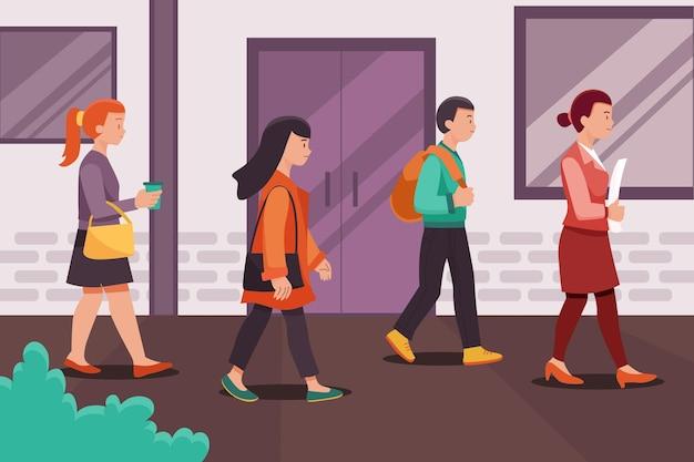 屋外を歩いている人々の仕事に戻る Premiumベクター
