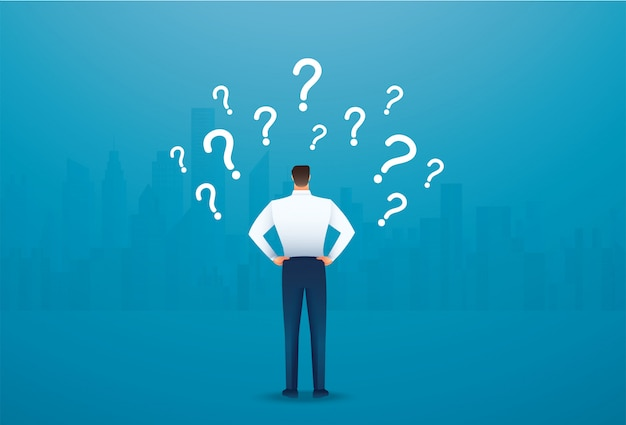 Back view of businessman looking at question marks Premium Vector