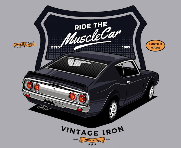 Back view of classic muscle car Premium Vector
