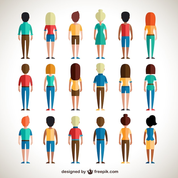 Back view of colorful people Free Vector