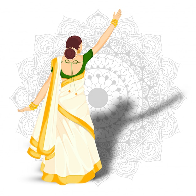Back view of indian woman standing in stylish pose on mandala pattern background. Premium Vector