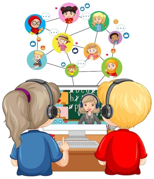 Вид сзади на пару детей, глядя на компьютер для онлайн-обучения Бесплатные векторы