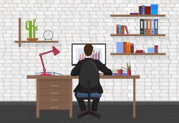 Back view of office man workplace Premium Vector