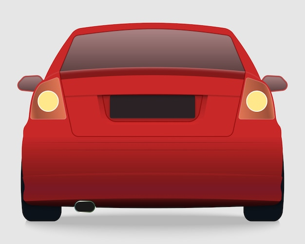 Back view of red car Premium Vector