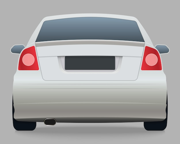 Back view of white car Premium Vector