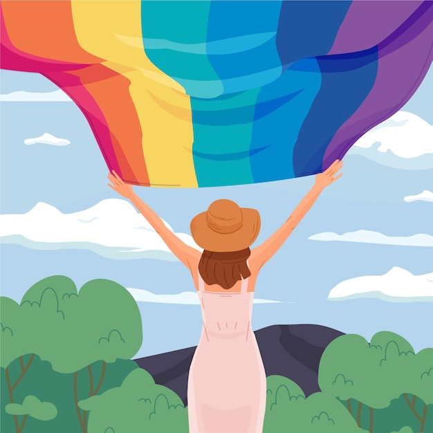 Back view woman holding up pride flag Free Vector