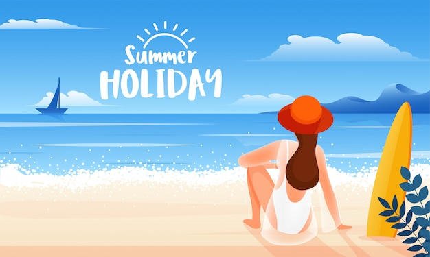 Back view of young woman sitting on beach for happy summer holiday Premium Vector
