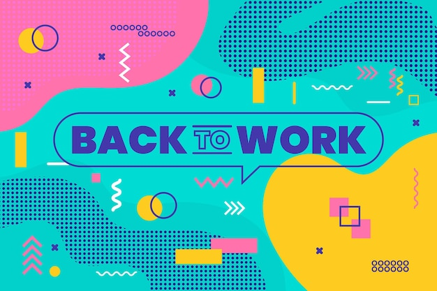 Back to work - memphis background Free Vector