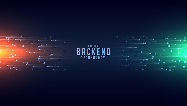 Concetto di tecnologia back-end con sfondo di linee luminose Vettore gratuito