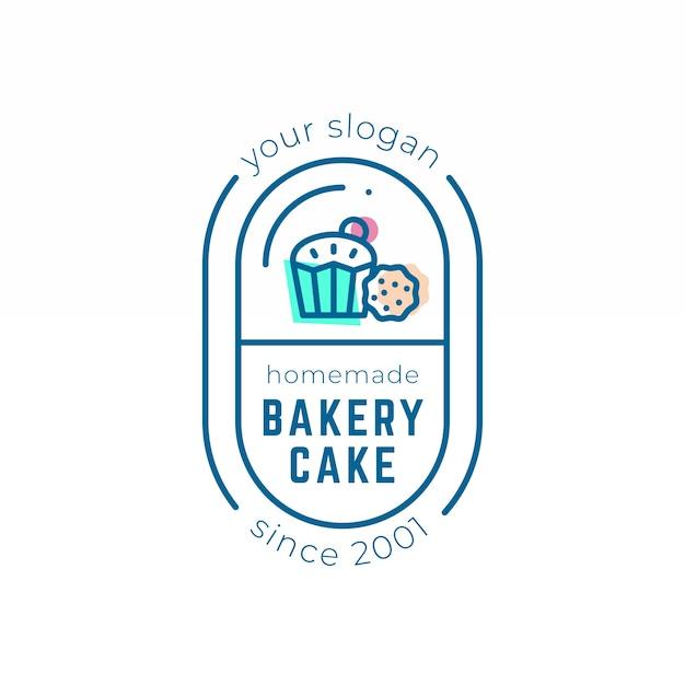 Тема шаблона логотипа торта backery Бесплатные векторы