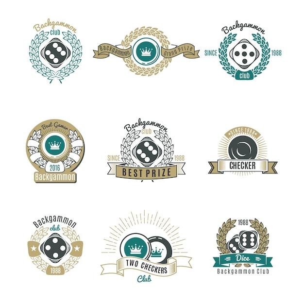 Emblemi di stile retrò di backgammon club Vettore gratuito