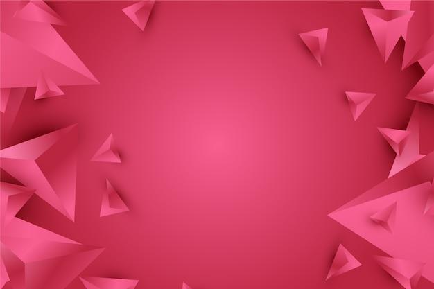 생생한 핑크 톤의 배경 3d 삼각형 디자인 프리미엄 벡터