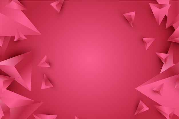 Background 3d triangle design in vivid pink tones Premium Vector