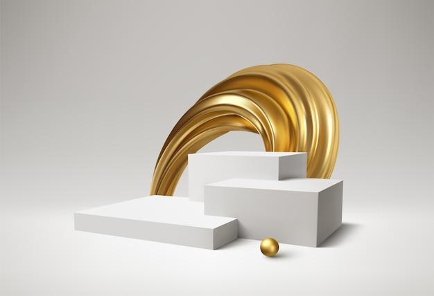 背景3d白い表彰台製品とリアルな金色の渦巻き Premiumベクター