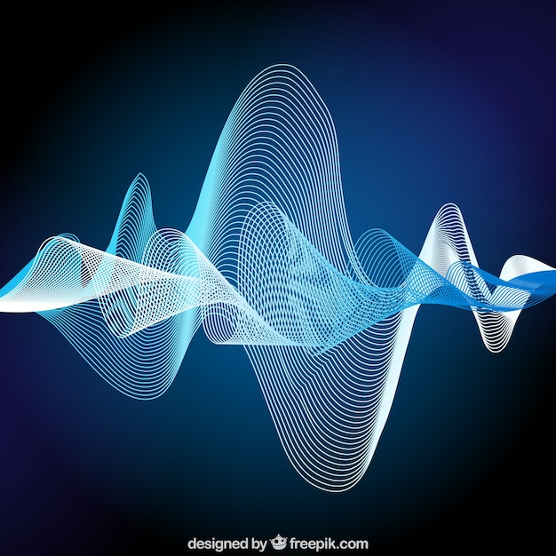 Background of abstract sound wave in blue tones Free Vector