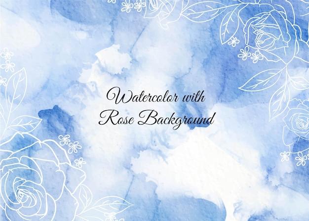 배경 추상 파도 라인 아트 장미 꽃과 푸른 수채화 모양 프리미엄 벡터