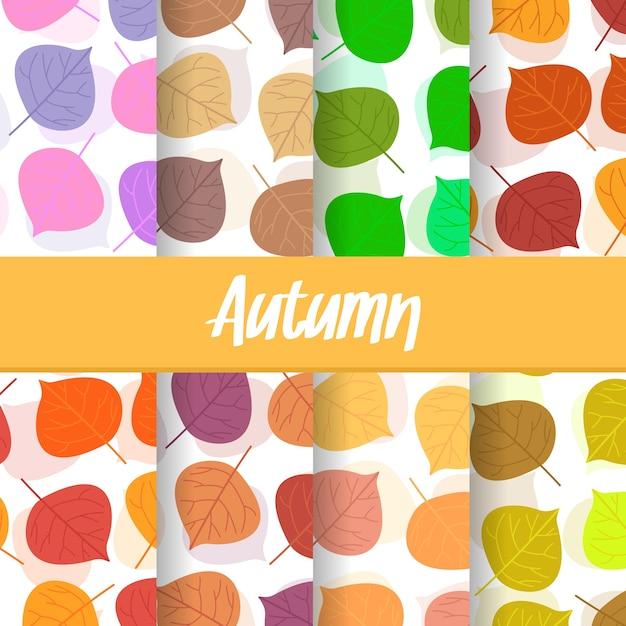 Background of autumn leaf seamless pattern Premium Vector