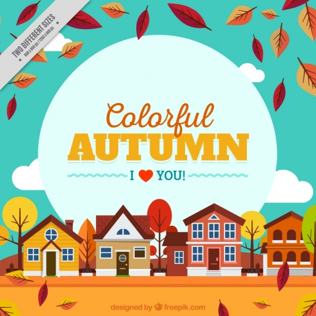 Background of autumnl landscape with houses Free Vector