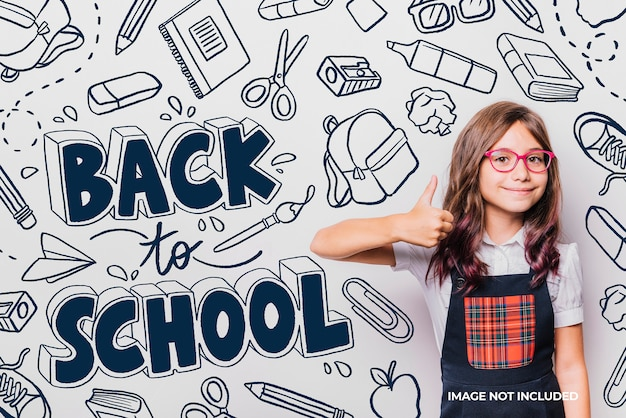 Background back to school handrawn elements Free Vector