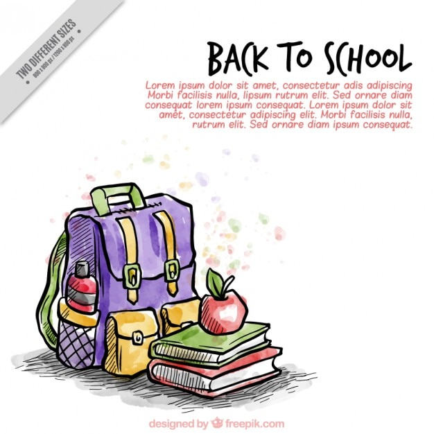 Background of backpack with hand painted schoolbooks Free Vector