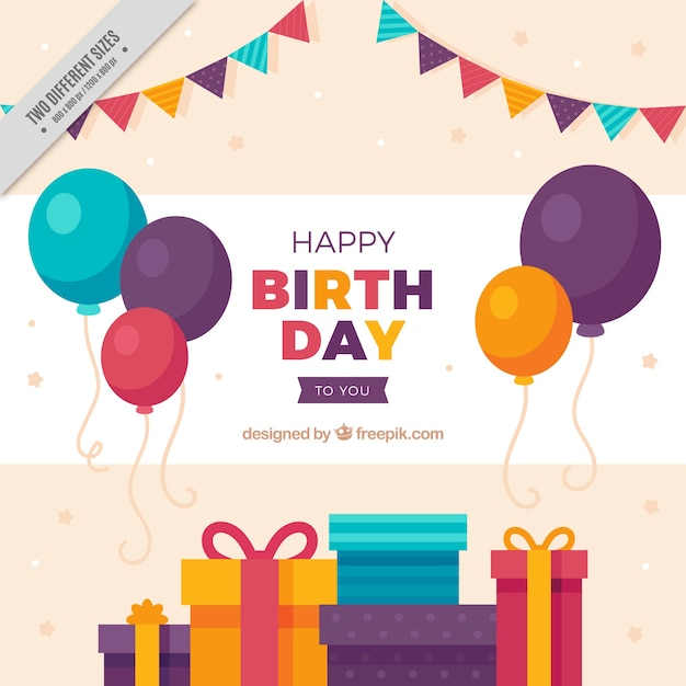Background of balloons and colorful gifts Free Vector