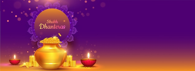 Background banner design with illustration of golden coins pot and illuminated oil lamps (diya) for shubh (happy) dhanteras celebration concept. Premium Vector