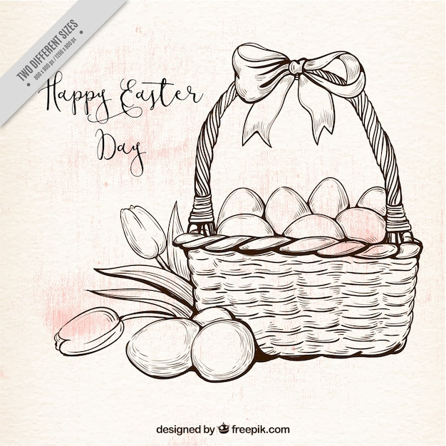 Background of basket and easter eggs in vintage style Free Vector