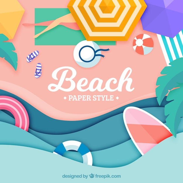 Background of beach from the top in paper style Free Vector
