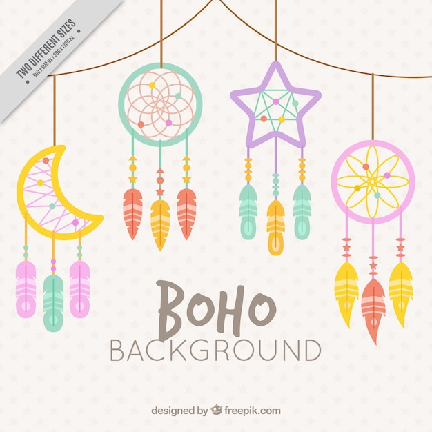 Background of beautiful dream catchers in flat design Free Vector