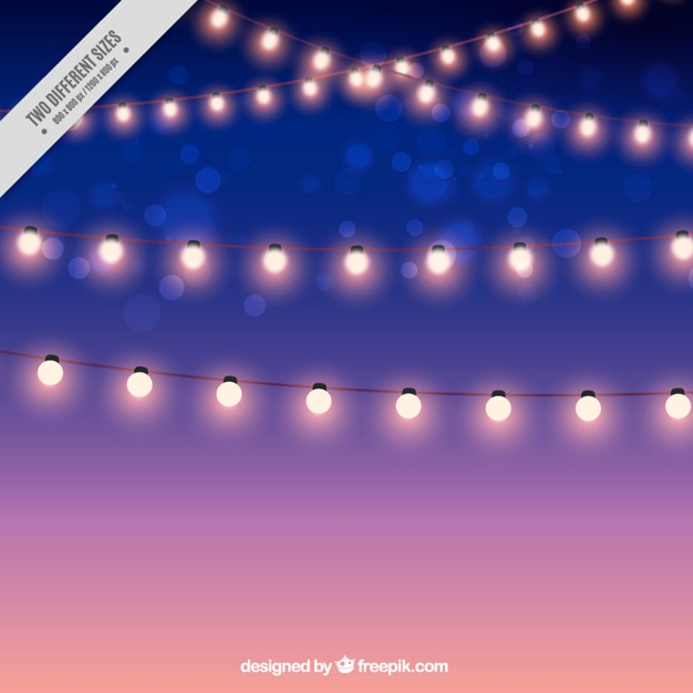 Background of beautiful garlands of lights Free Vector