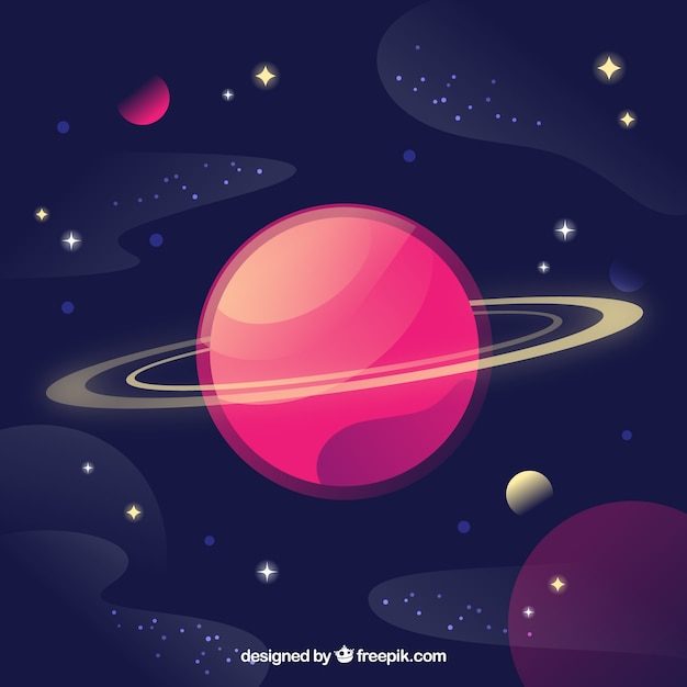 Background of beautiful planet and stars Free Vector