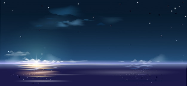 Background beautiful sunrise over the sea and Premium Vector