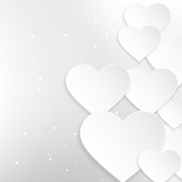 Background of beautiful white hearts Free Vector
