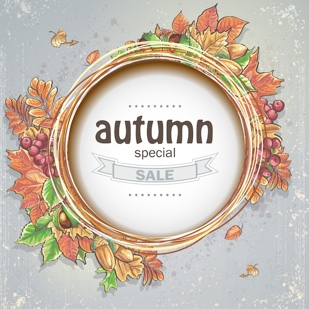 Background for big autumn sale with the image of autumn leaves, acorns, chestnuts and berries of viburnum Premium Vector
