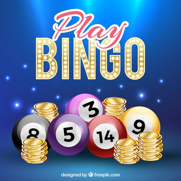 Background of bingo balls in realistic style Free Vector