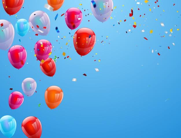 Background birthday balloons Premium Vector