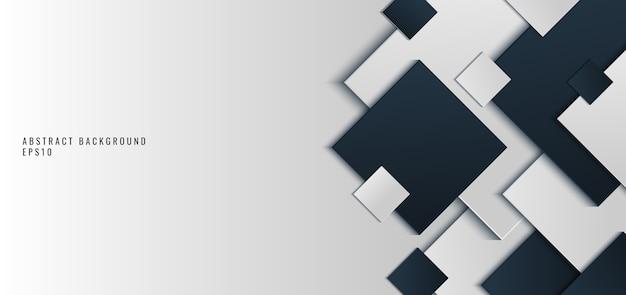 배경 검정과 회색 사각형 모양 프리미엄 벡터