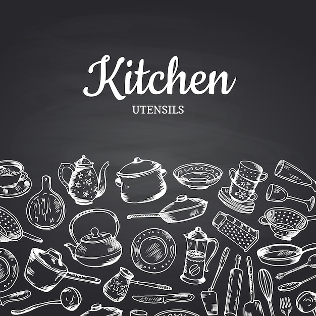 Background on black chalkboard illustration with kitchen utensils and place for text. banner or vintage poster for restaurant Premium Vector