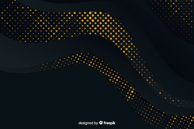 Background black paper with halftone effect Free Vector