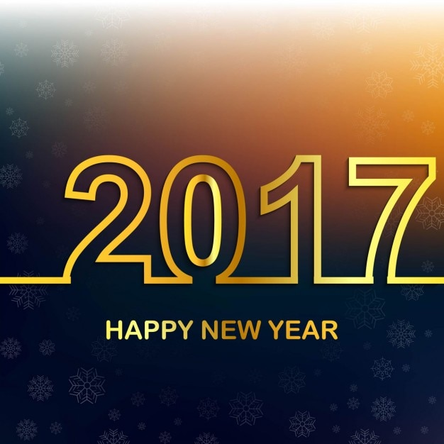 Background bokeh new year 2017 golden Free Vector