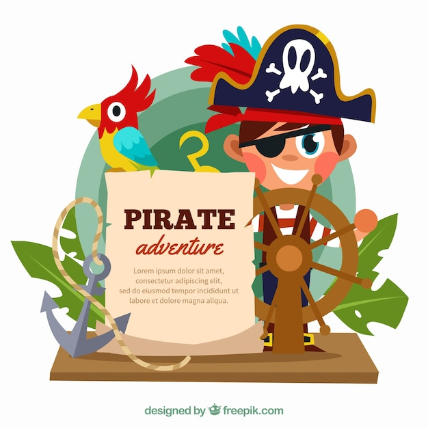 Background of boy with pirate hat and rudder Free Vector