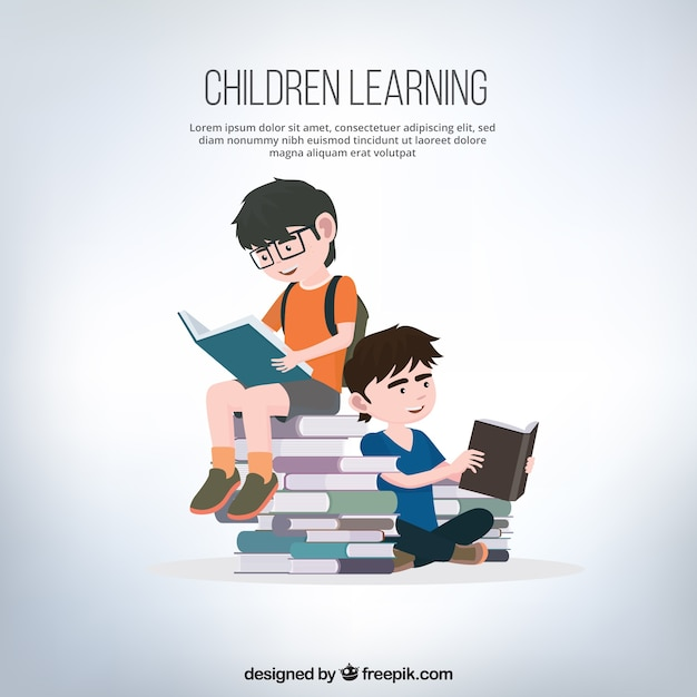 Background of boys reading books Free Vector