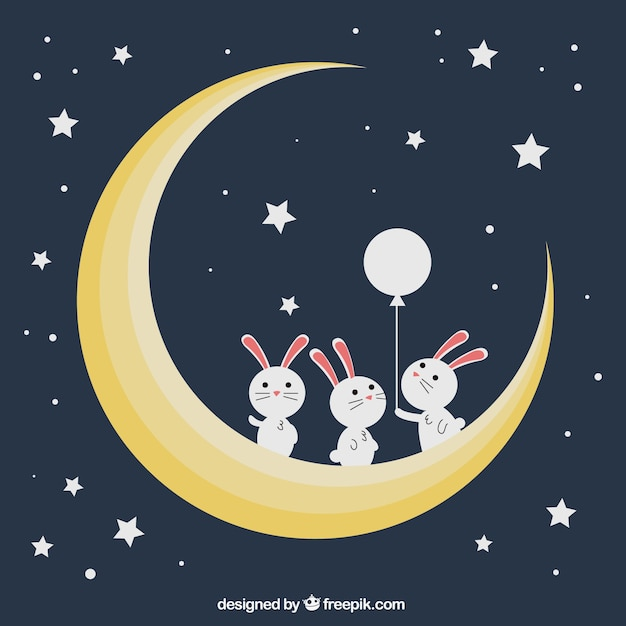 Background of bunnies on the moon Free Vector