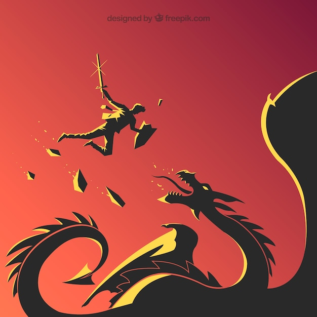 Background of business character fighting with dragon Free Vector