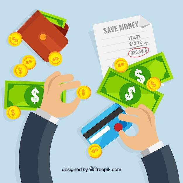 Background of businessman with banknotes and credit card Free Vector