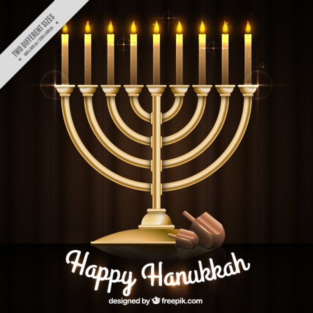Background of candles and candelabra for hanukkah Free Vector