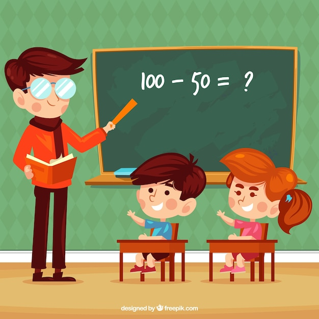Background of children learning in class with teacher Free Vector