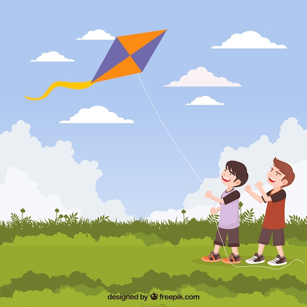 Background of children with a kite in the field Premium Vector